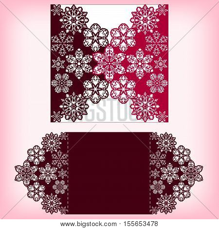 Laser cutting three layers template with snowflakes ornament. For christmas greeting cards, invitations. Size 150 mm x 150 mm. Vector illustration.