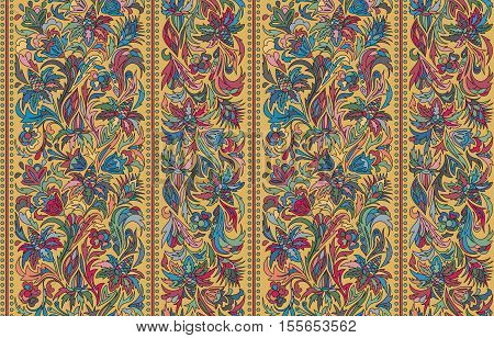 Striped seamless pattern. Floral wallpaper. Colorful ornamental border. Stock vector. Blue red gray on brown