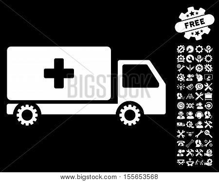 Service Car icon with bonus tools clip art. Vector illustration style is flat iconic white symbols on black background.