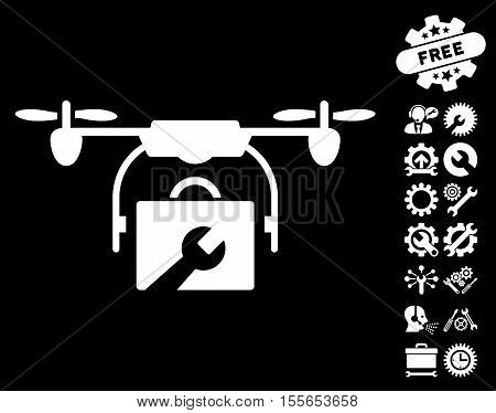 Service Drone icon with bonus tools pictograph collection. Vector illustration style is flat iconic white symbols on black background. poster