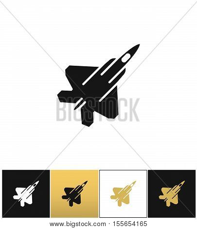Air force navy icon airforce vector military plane or fighter jet vector icon. Air force navy icon airforce vector military plane or fighter jet pictograph on black, white and gold background