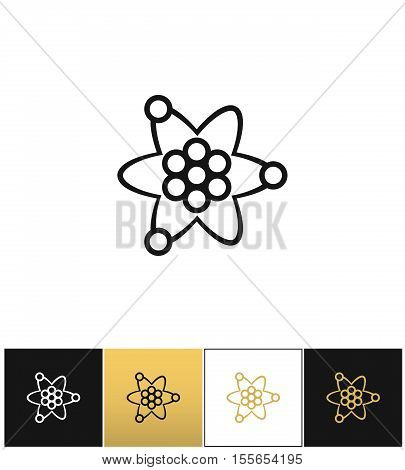 Atom or nuclear core structure vector icon. Atom or nuclear core structure pictograph on black, white and gold background