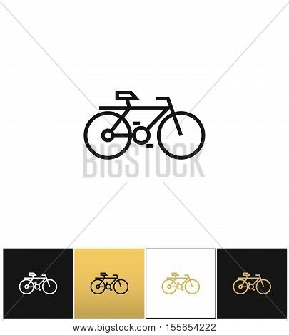 Bicycle line symbol or travel velocity bike outline vector icon. Bicycle line symbol or travel velocity bike outline pictograph on black, white and gold background