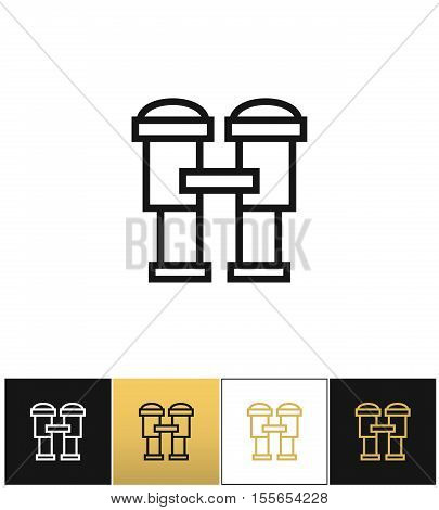 Binoculars sign or find looking and watch vector icon. Binoculars sign or find looking and watch pictograph on black, white and gold background