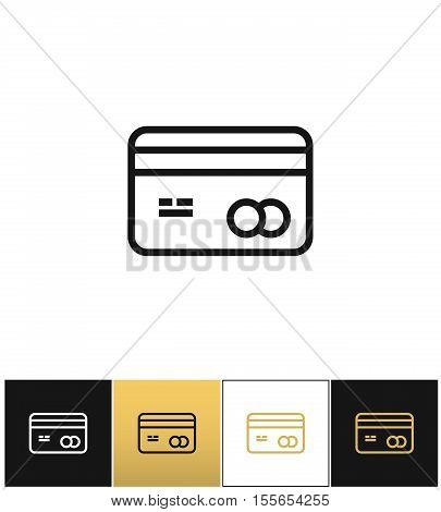 Business card or credit card vector icon. Business card or credit card pictograph on black, white and gold background