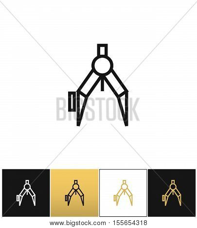 Compass or architect compasses vector icon. Compass or architect compasses pictograph on black, white and gold background