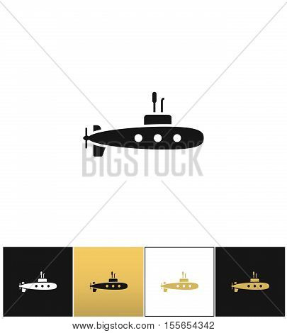 Deep water submarine vector icon. Deep water submarine pictograph on black, white and gold background