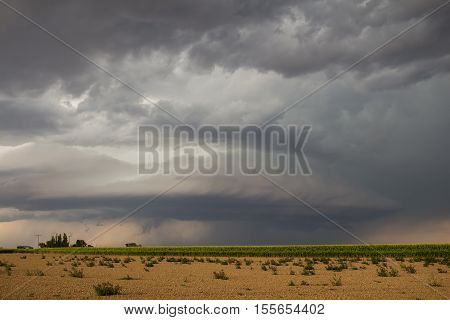 A supercell thunderstorm creates an eerie scene over farmland in eastern Colorado.