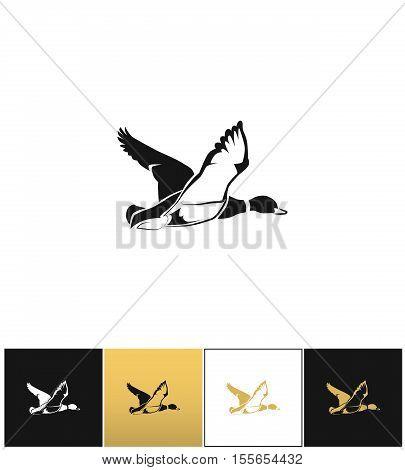 Flying duck silhouette or hunting target vector icon. Flying duck silhouette or hunting target pictograph on black, white and gold background