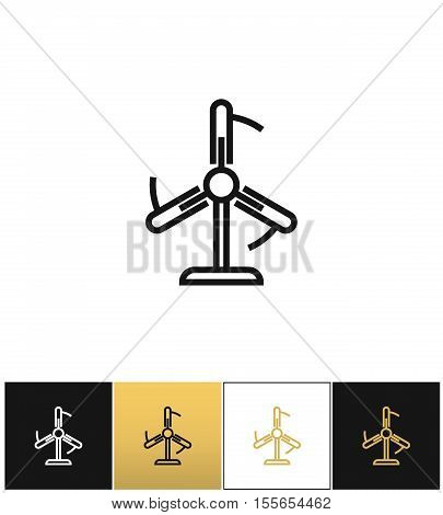 Fun or cooling airflow vector icon. Fun or cooling airflow pictograph on black, white and gold background