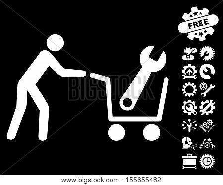 Tools Shopping icon with bonus service graphic icons. Vector illustration style is flat iconic white symbols on black background.