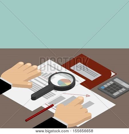 Business analyst financial data analysis. Businessman with magnifying glass is looking financial reports.