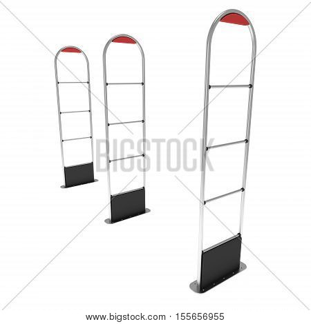 3D shop security anti-theft sensor gates. 3D render illustration of blank shoplifter scanner isolated on white background. Scanner entrance gate for prevent theft in shop or store. Security concept.