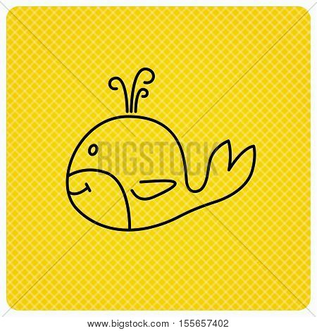 Whale icon. Largest mammal animal sign. Baleen whale with fountain symbol. Linear icon on orange background. Vector