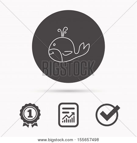 Whale icon. Largest mammal animal sign. Baleen whale with fountain symbol. Report document, winner award and tick. Round circle button with icon. Vector