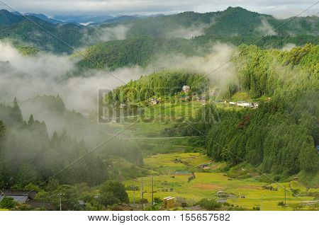 Japanese Rural Landscape Of Rice Farms In High Mountains