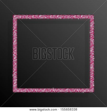 Frame made of Pink sequins in the form square. Mosaic sequins glitter sparkle stars.
