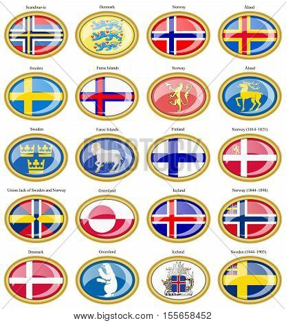 Set Of Icons. Flags Of Scandinavian Countries. 3D.