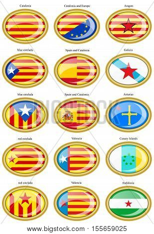 Set Of Icons. Flags Of Separatist Movements Within Spain. 3D.