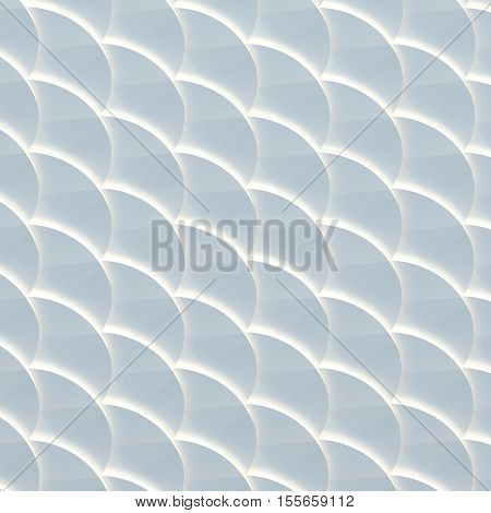 3d illustration. The abstract three-dimensional background based on the pattern of scales. Round shapes are superimposed on each other in perspective. Blue shade render.