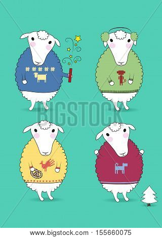 Cartoon white sheeps with colorful pullovers and new years attributes - petard cookiy fir-tree earmuffs. Patterns of chinese horoscope - rooster monkey dog sheep. illustration