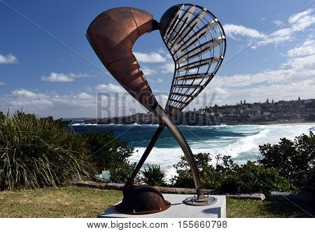 Sydney Australia - Oct 23 2016. Geoffrey Bartlett: Embrace. Sculpture by the Sea along the Bondi to Coogee coastal walk is the world's largest free to the public sculpture exhibitions.