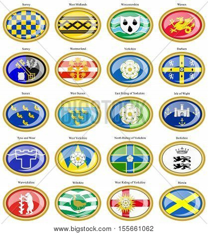 Set Of Icons. Counties Of England Flags. 3D.
