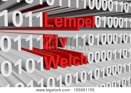 Lempel Ziv Welch in the form of binary code, 3D illustration