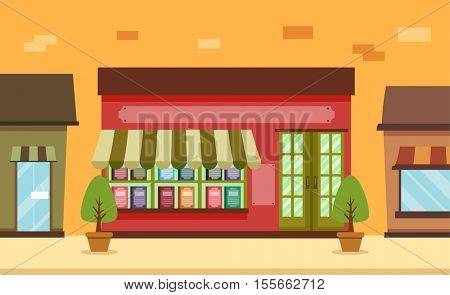 Storefront Illustration Featuring the Facade of a Cute and Colorful Book Shop