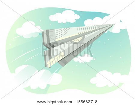 Illustration of a Paper Plane Made from a Folded Bill Flying Against a Cloudy Background