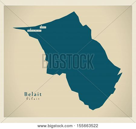 Modern Map - Belait BN vector illustration