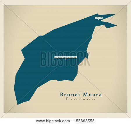 Modern Map - Brunei Muara BN vector illustration
