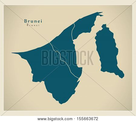 Modern Map - Brunei with districts BN vector illustration