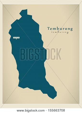 Modern Map - Temburong BN vector illustration