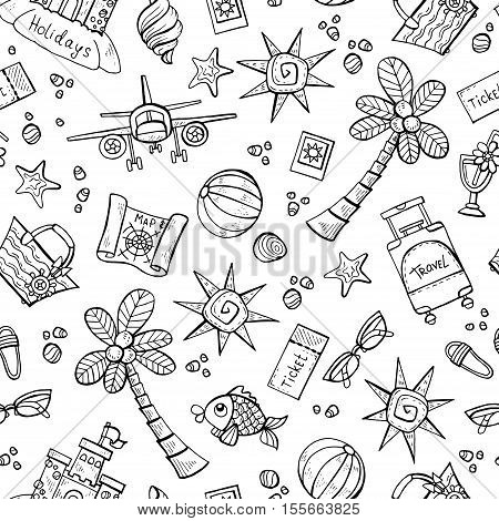 Vector seamless pattern with hand drawn isolated symbols of summer and holidays on white color. Pattern on the theme of travel tourism. Background for use in design, packing, web site, fabric