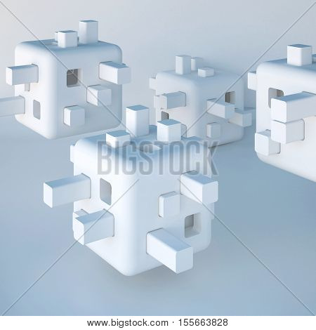 3d illustration. Abstract white non-existent forms Futuristic background. Images associations: cube constructor developing toy robot head modular flying autonomous home cell. Render.