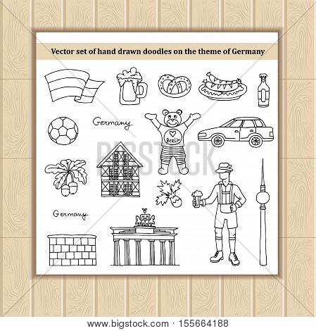 Vector set with hand drawn isolated doodles of Germany symbols. Flat illustrations on the theme of travel and tourism. Sketches for use in design, web site, packing, textile, fabric