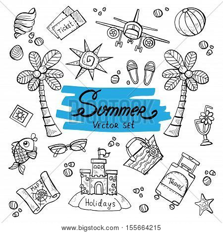 Vector set with hand drawn isolated doodles of summer symbols. Flat illustrations on the theme of travel tourism holidays. Sketches for use in design, web site, packing, textile, fabric