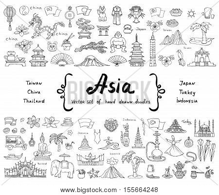Vector set with hand drawn isolated doodles on the theme of Asian countries - China Japan Turkey Thailand Taiwan Indonesia. Tourism travel and symbols. Sketches for use in design, web site, packing, textile, fabric