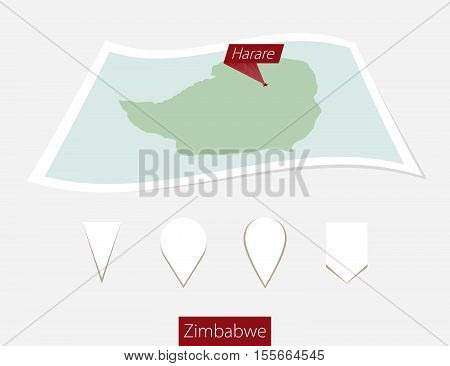 Curved Paper Map Of Zimbabwe With Capital Harare On Gray Background. Four Different Map Pin Set.