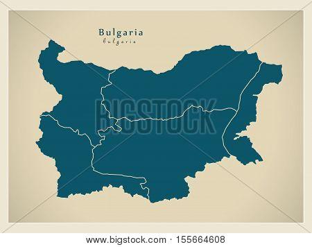 Modern Map - Bulgaria with regions BG vector illustration