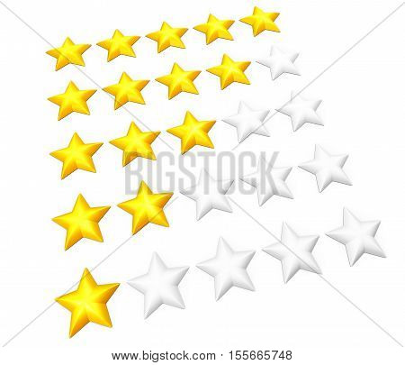 Set of rating stars in rows. From one to five. Isolated on white. 3D illustration