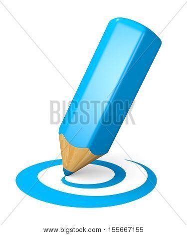 Blue pencil drawing curved shape. Internet blogging concept. 3d illustration.