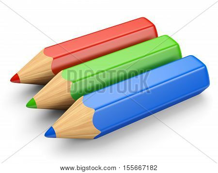 RGB color concept. Red green and blue pencils isolated on white. 3d illustration