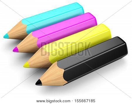 RGB color concept. Cyan magenta yellow and black pencils isolated on white. 3d illustration