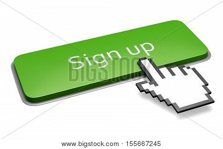 Green Sign Up Button And Hand Cursor Concept