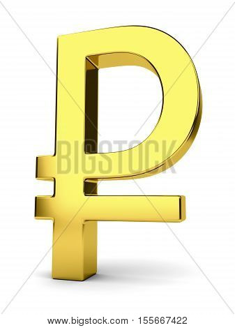 Golden symbol of russian rouble isolated on white. Financial business and investment concept. 3D illustration