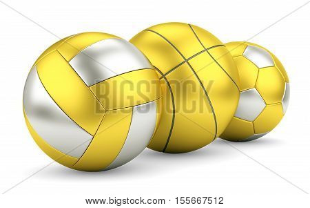 Sport team game success and award concept. Gold and silver volleyball basketball and soccerball in row. 3D illustration