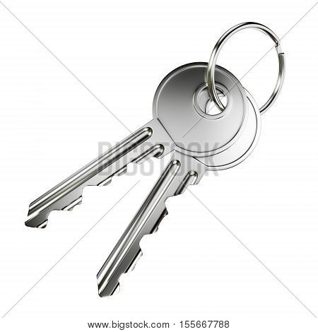 Pair of nickel door keys isolated on white background. 3D illustration