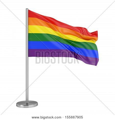 LBGT social movement symbol. Rainbow pride flag isolated on white background. 3D illustration